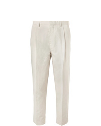 Mr P. Tapered Pleated Linen And Cotton Blend Twill Cropped Trousers