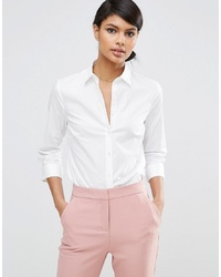 ASOS DESIGN 34 Sleeve Shirt In Stretch Cotton