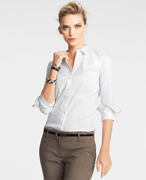 Ann taylor tall cotton perfect button down shirt where for Perfect white dress shirt