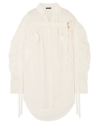 Ann Demeulemeester Appliqud Ruched Cotton Shirt