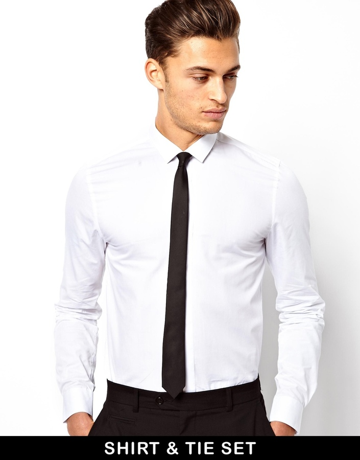 Asos smart shirt and tie set save 13 where to buy how for Where to buy a dress shirt