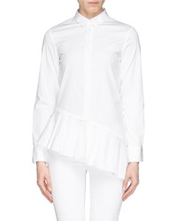 Neil Barrett Asymmetric Pleat Peplum Cotton Poplin Shirt