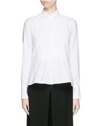 Valentino Bib Peplum Cotton Dress Shirt