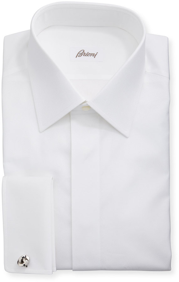 White dress shirt brioni formal covered placket dress Buy white dress shirt