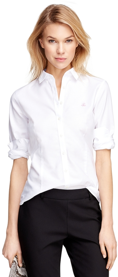 White dress shirt brooks brothers petite non iron for Where to buy a dress shirt