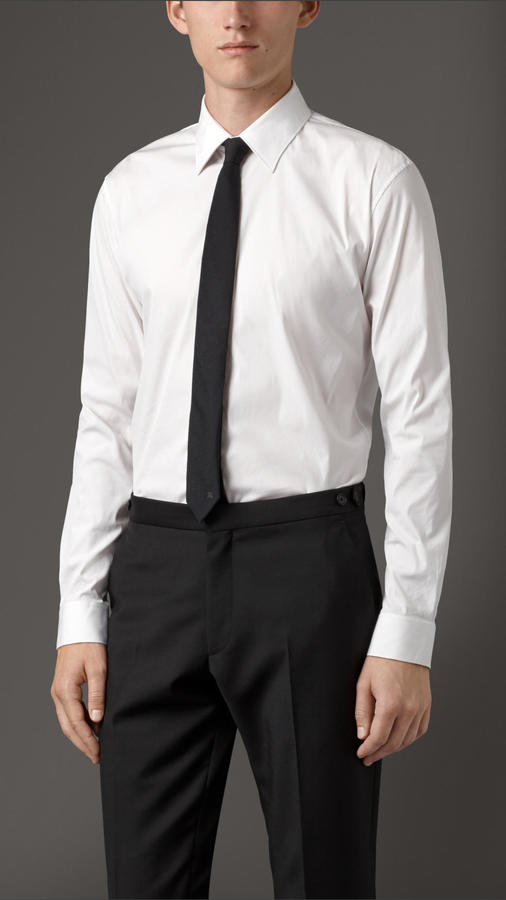 Burberry modern fit stretch cotton blend shirt where to for How to stretch a dress shirt