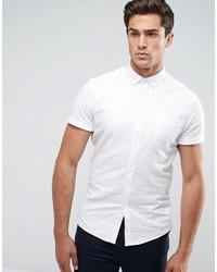 Asos Casual Skinny Oxford Shirt In White
