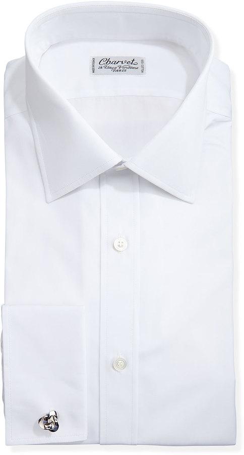 Charvet solid poplin french cuff shirt white where to for White french cuff shirt