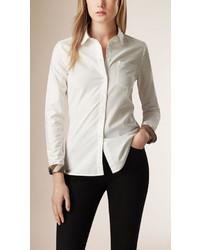 Burberry Check Detail Cotton Shirt