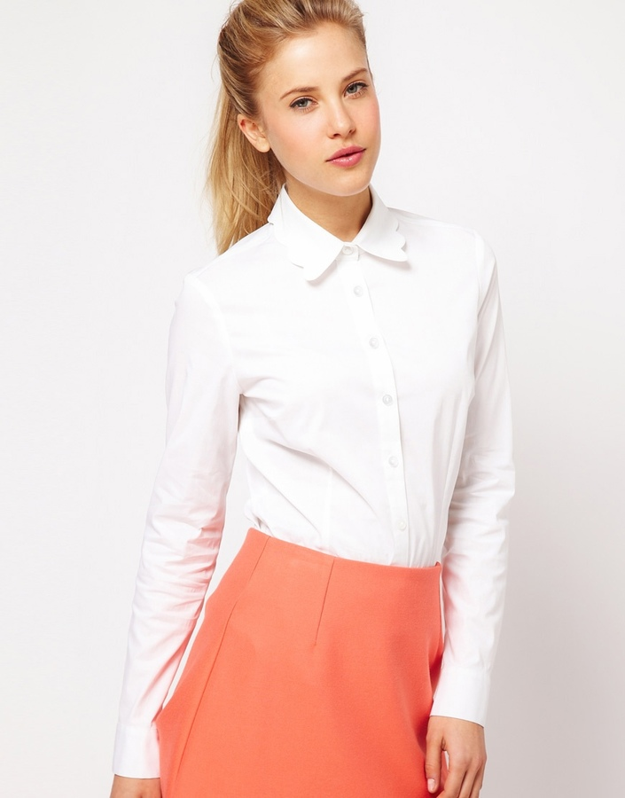 Asos Collection Scallop Collar White Shirt | Where to buy & how to ...