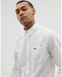Lacoste Croc Logo Oxford Shirt In White