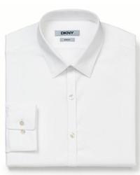 DKNY Dress Shirt Slim Fit White Solid Long Sleeved Shirt
