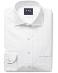 Drakes Drakes White Cutaway Collar Cotton Oxford Shirt