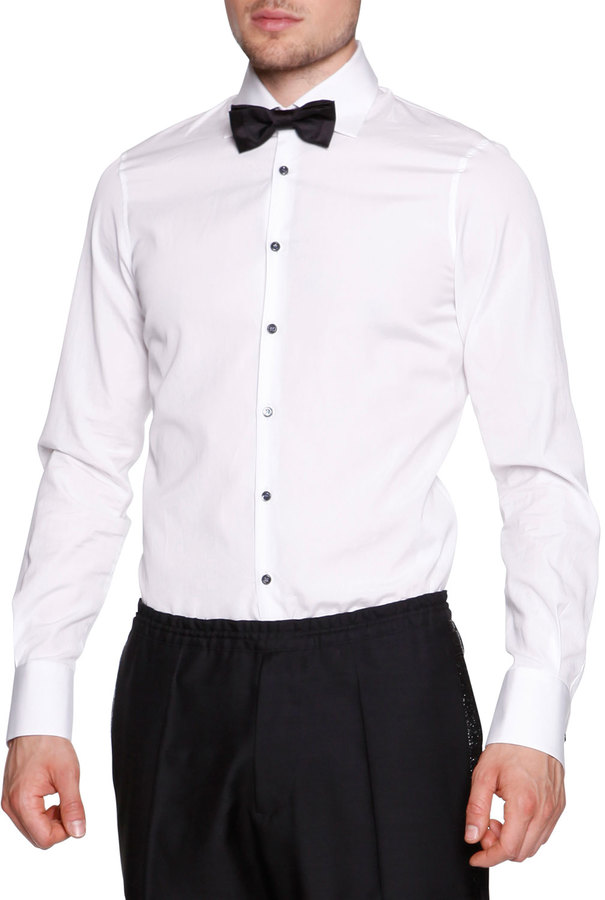 Black Button White Shirt