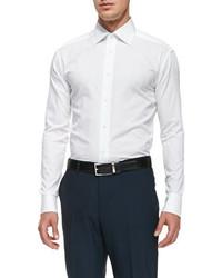 Ermenegildo Zegna Woven Poplin Dress Shirt White