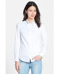 NYDJ Fit Solution Embellished Collar Poplin Shirt