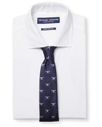 Graham Graham Dress Shirt Skull Print Tie Set White