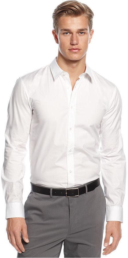 NEU gr L XL HUGO BOSS HEMD ELISHA SLIM FIT WHITE MANSCHETTEN Jeans 50251476
