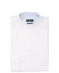 Hugo Boss Jowis White Slim Fit Grandad Collar Cotton Piqu Shirt