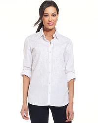 Charter Club Long Sleeve Embroidered Button Down Shirt