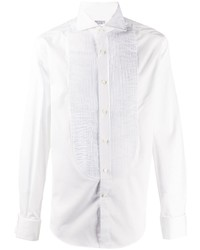 Brunello Cucinelli Long Sleeve Pleated Bib Shirt