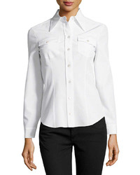 Michael Kors Michl Kors Long Sleeve Button Silk Shirt White