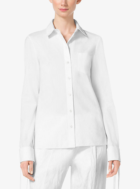 Michael Kors Michl Kors Tie Cuff Cotton Poplin Shirt