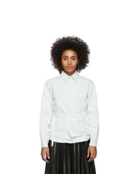 MM6 MAISON MARGIELA Off White Denim Crossover Apron Shirt