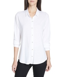 Eileen Fisher Organic Cotton Jersey Classic Collar Shirt