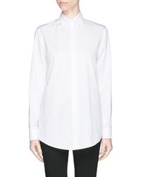 Givenchy Pearl Button Down Collar Cotton Poplin Shirt