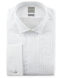 Ike Behar Pleated Fly Front Tuxedo Shirt White