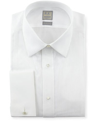 Ike Behar Pleated Tuxedo Shirt White