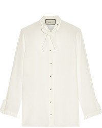 Gucci Pussy Bow Silk Crepe De Chine Shirt Off White
