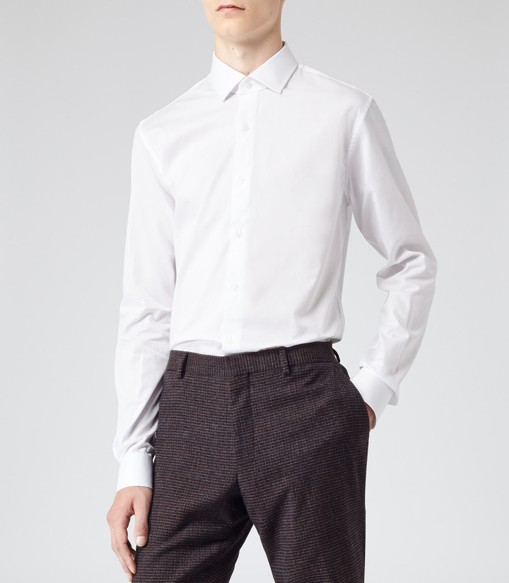 Reiss driver formal shirt with small collar for Small collar dress shirt