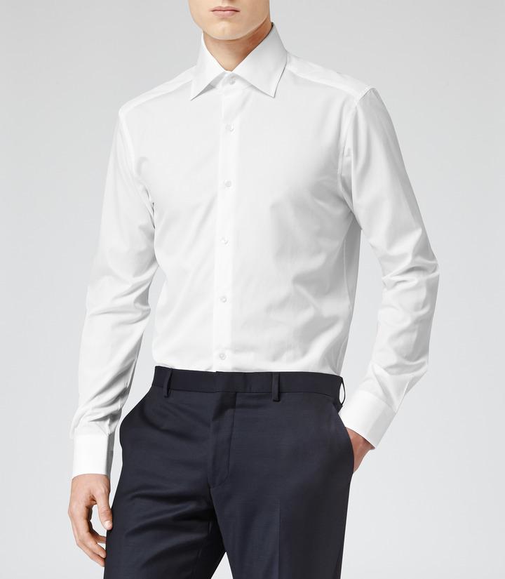 White dress shirt reiss navigator non stretch poplin for How to stretch a dress shirt