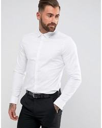 Asos Smart Stretch Slim Fit Oxford Shirt With Double Cuff