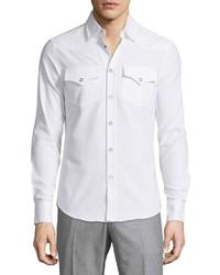 Brunello Cucinelli Snap Front Dress Shirt White