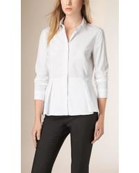 Burberry Stretch Cotton Peplum Shirt