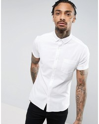 Asos Super Skinny Casual Oxford Shirt With Stretch In White With Button Down Collar