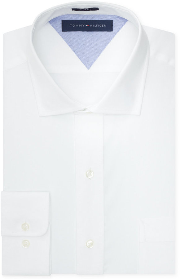 Tommy hilfiger easy care slim fit white solid dress shirt for Buy white dress shirt