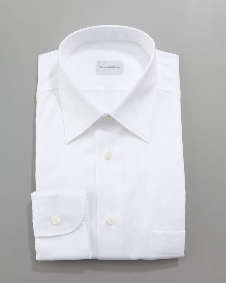 f57699b1 $265, Ermenegildo Zegna Twill Dress Shirt White