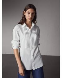 Burberry Unisex Double Cuff Pintuck Bib Cotton Shirt