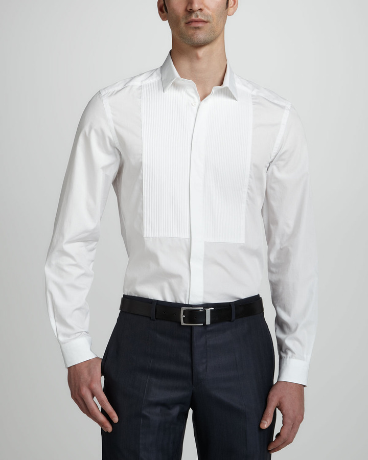 Versace collection long sleeve dress shirt white where for Blue and white versace shirt
