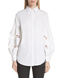 Lela Rose Wave Trim Stretch Poplin Shirt