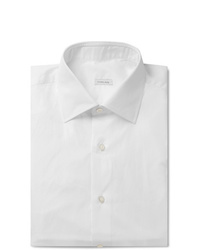 Caruso White Camromo Slim Fit Cotton Shirt