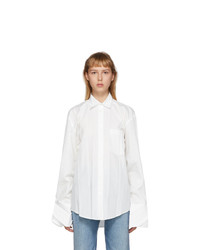 Balenciaga White Cotton Plissee Shirt