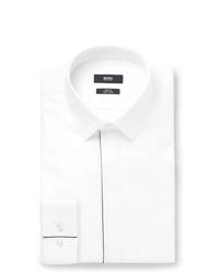 Hugo Boss White Ivan Slim Fit Cotton Poplin Tuxedo Shirt