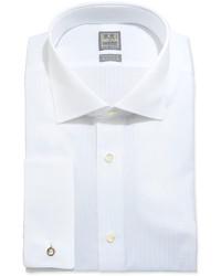 Ike Behar White On White Tonal Stripe Dress Shirt