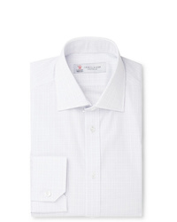 Turnbull & Asser White Slim Fit Cutaway Collar Checked Cotton Poplin Shirt