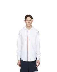 Thom Browne White Zip Front Oxford Shirt